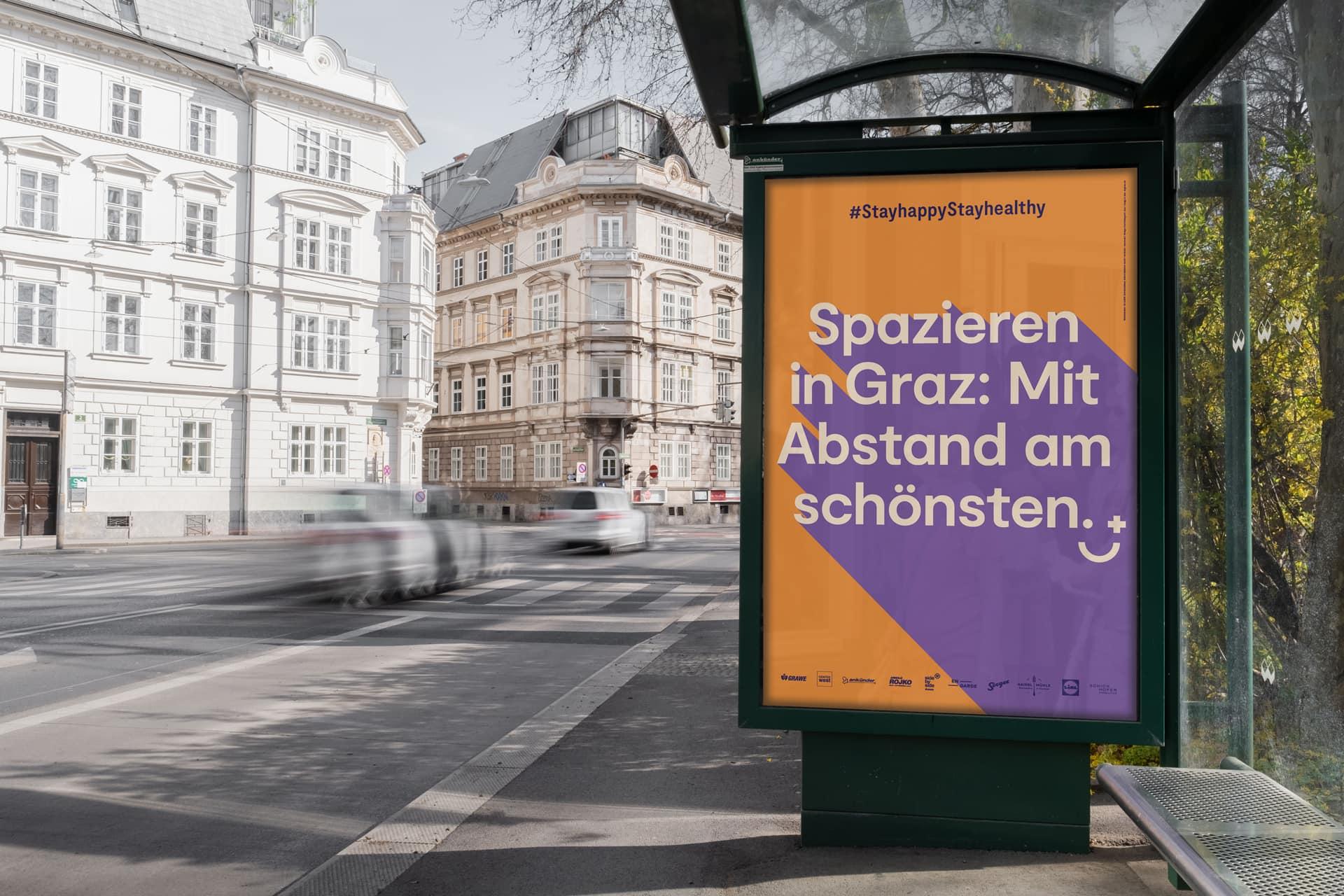 Corona #stayhappy Graz CityLight