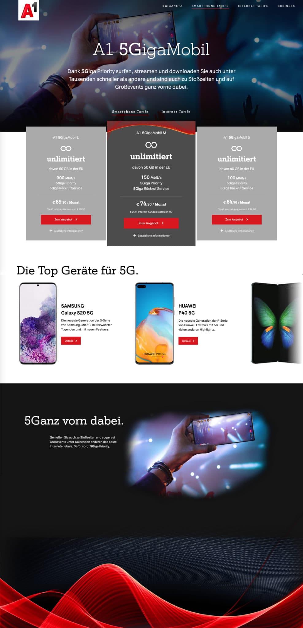 A1 5G Website Desktop Alle Tarife