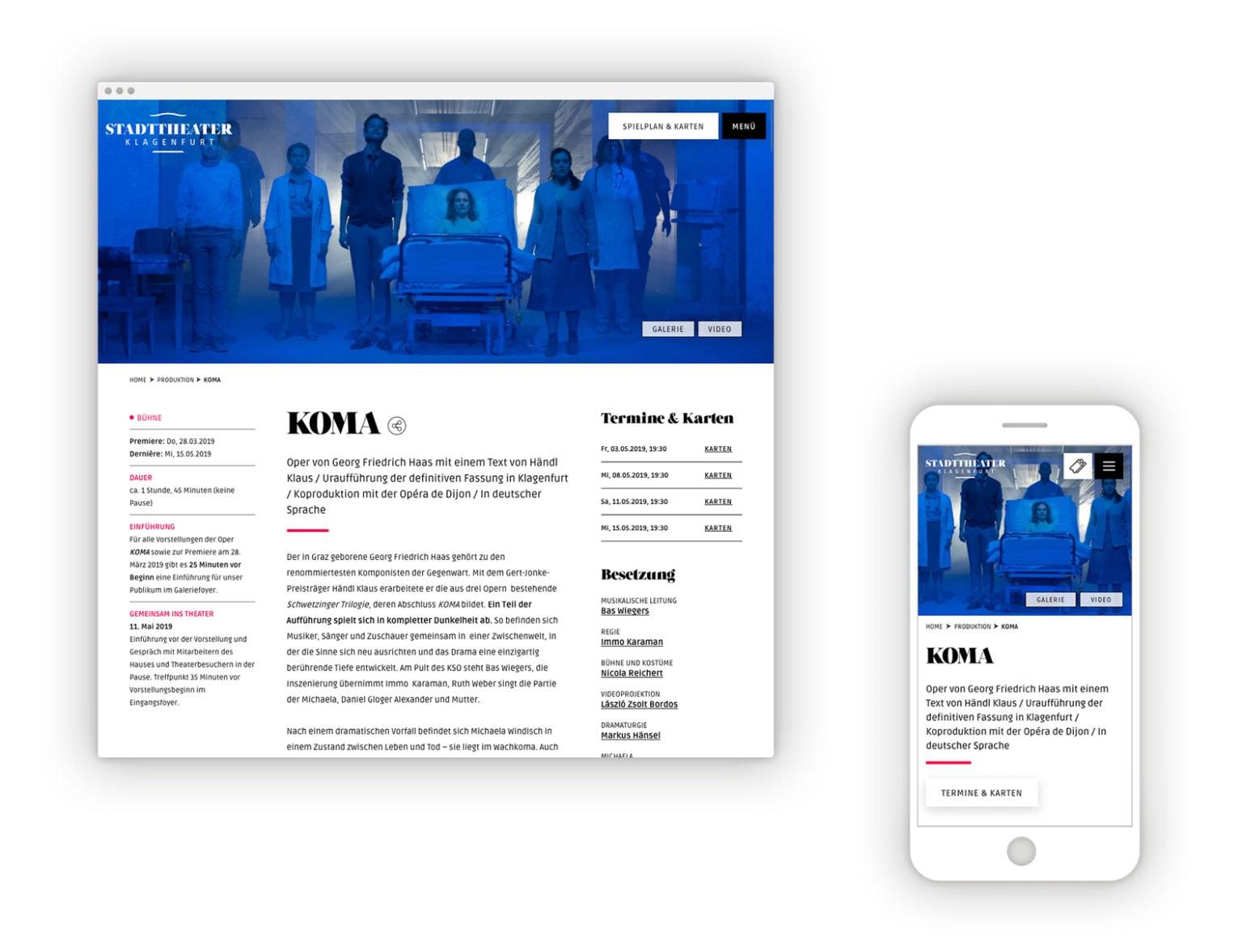 Salzburger Festpiele Website Desktop Mobile Programm