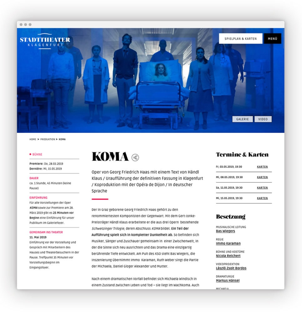 Salzburger Festpiele Website Desktop Programm