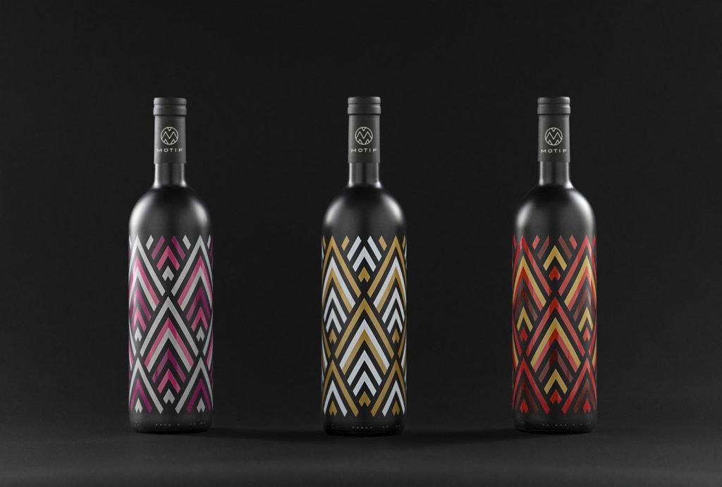 Motif Wein Branding Flaschen