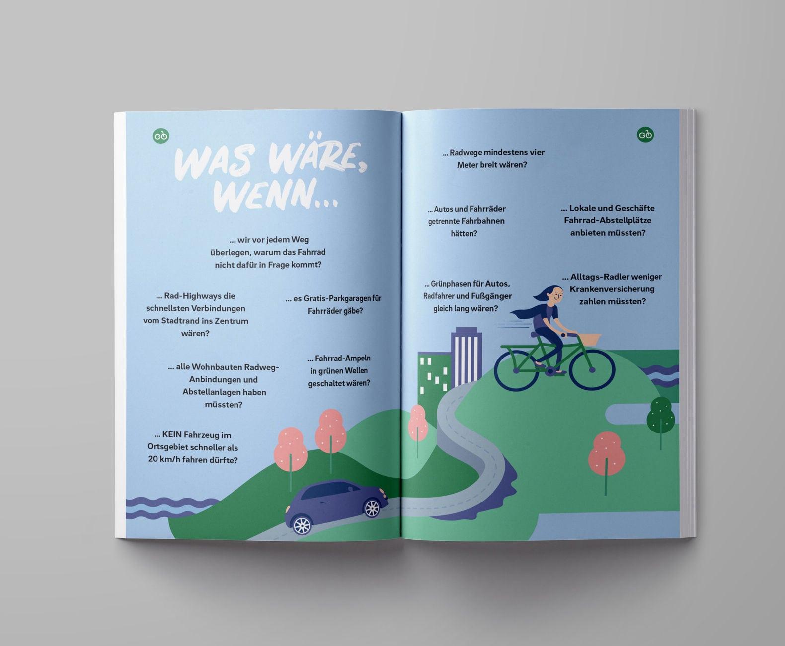 Radmobilität Steiermark Editorial Design Illustration