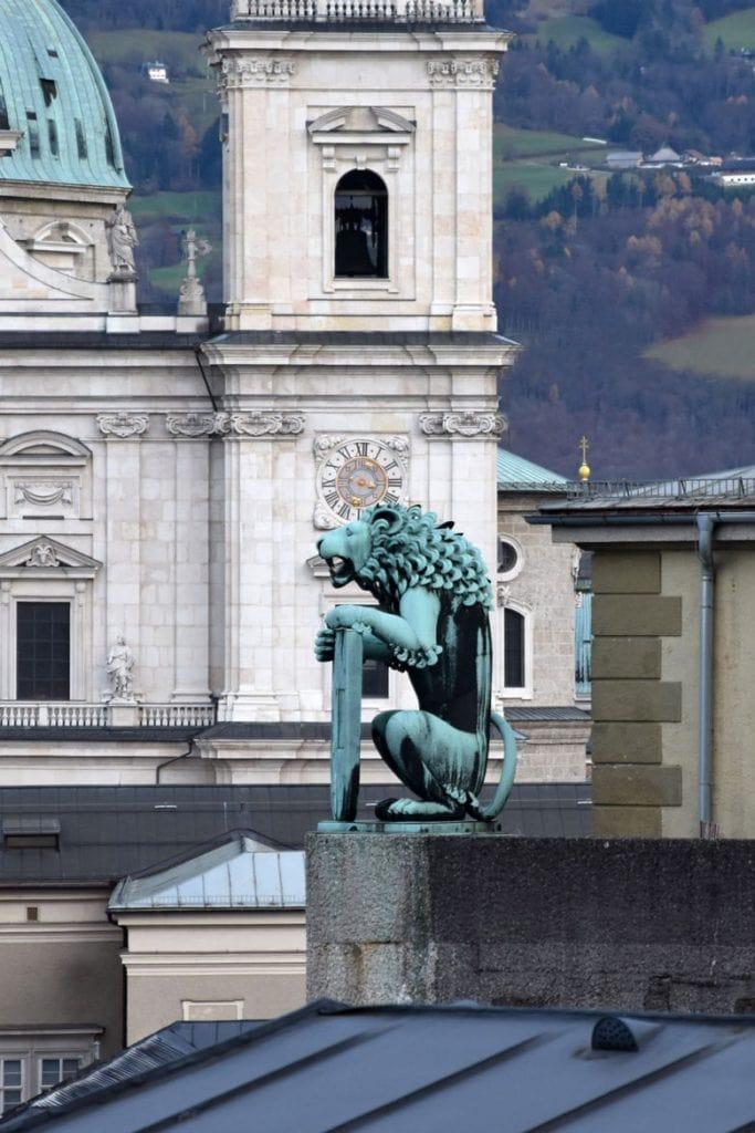 Salzburger Festspiele Aussicht vom Festspielhaus Löwe